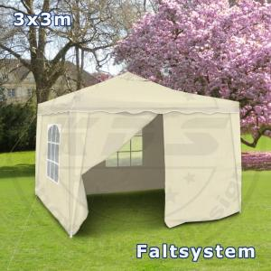 faltpavillon 3x3 seitenteile metall garten pavillon beige wasserdicht partyzelt ebay. Black Bedroom Furniture Sets. Home Design Ideas
