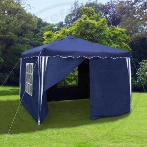 faltpavillon 3x3 seitenteile metall garten pavillon blau wasserdicht partyzelt. Black Bedroom Furniture Sets. Home Design Ideas