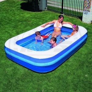 Kinder planschbecken splash eckig blau wei 269x175x51cm for Pool aufblasbar eckig