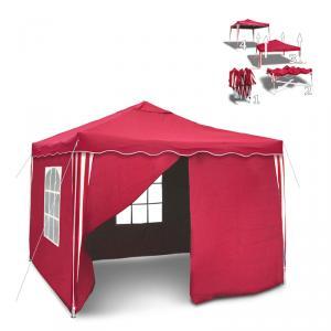 syii falt pavillon 3x3 seitenteile metall gartenpavillon rot partyzelt pavillion ebay. Black Bedroom Furniture Sets. Home Design Ideas