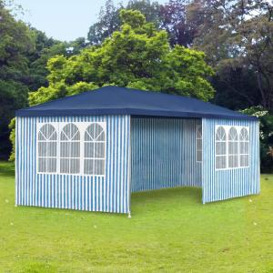 garten pavillon 3x6 m blau wei wasserdicht festzelt gartenzelt seitenw nde 110g ebay. Black Bedroom Furniture Sets. Home Design Ideas