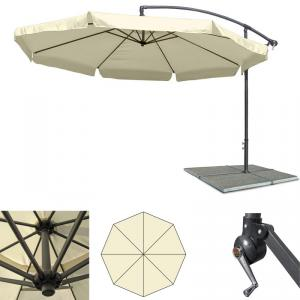 gro er metall ampelschirm gartenschirm beige 3 m. Black Bedroom Furniture Sets. Home Design Ideas