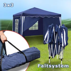 garten pavillon 3x3 blau falt partyzelt festzelt gartenzelt 200d seitenteile neu. Black Bedroom Furniture Sets. Home Design Ideas