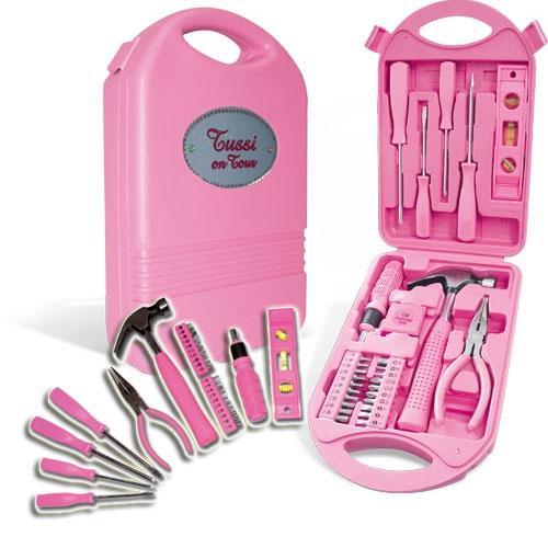 Tussi-on-Tour-Auto-Werkzeugkoffer-Werkzeugkiste-pink-28tlg-Werkzeug-Kasten-Box