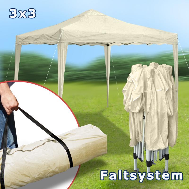 faltpavillon 3x3 partyzelt metall garten pavillon. Black Bedroom Furniture Sets. Home Design Ideas