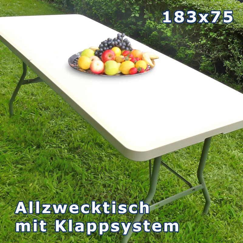 gro er kunststoff gartentisch 184cm klappbar klapptisch campingtisch gartenm bel ebay. Black Bedroom Furniture Sets. Home Design Ideas