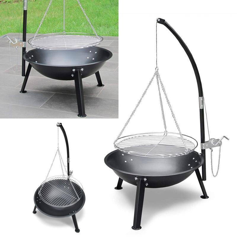 holzkohlegrill gasgrill garten grill standgrill bbq grillwagen dreibein kurbel ebay. Black Bedroom Furniture Sets. Home Design Ideas