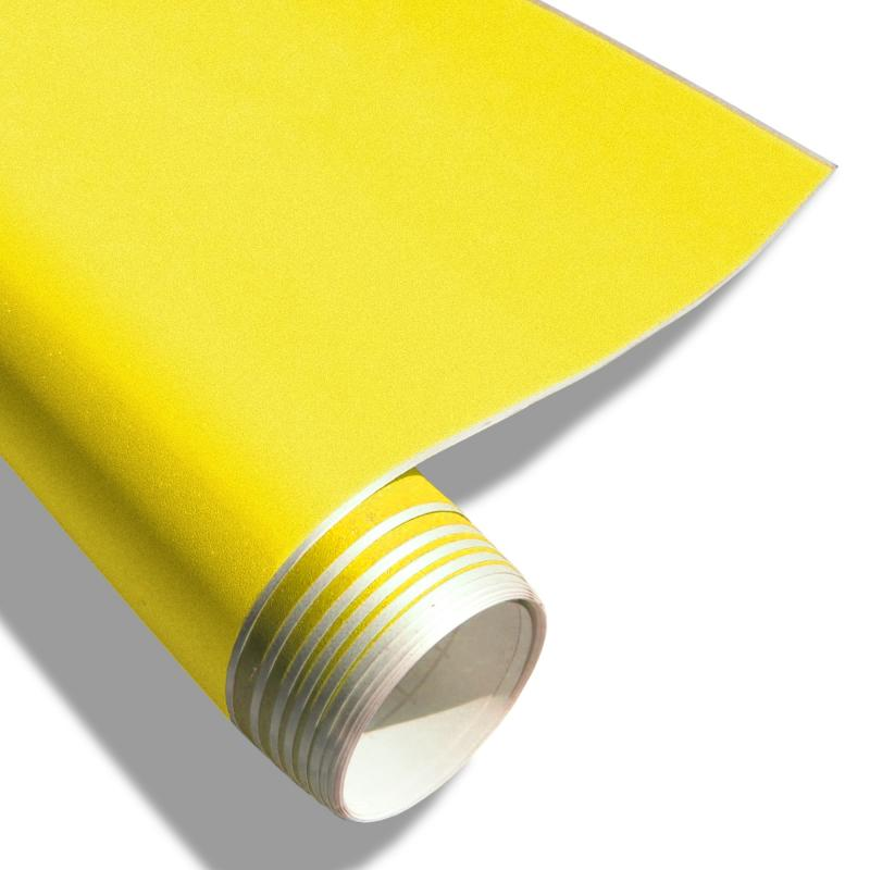 Uv premium auto folie gelb matt klebefolie selbstklebend for Pvc klebefolie