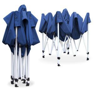 3x3 Profi Falt Pavillon WASSERDICHT PVC Garten Party Fest Zelt blau 4Wände